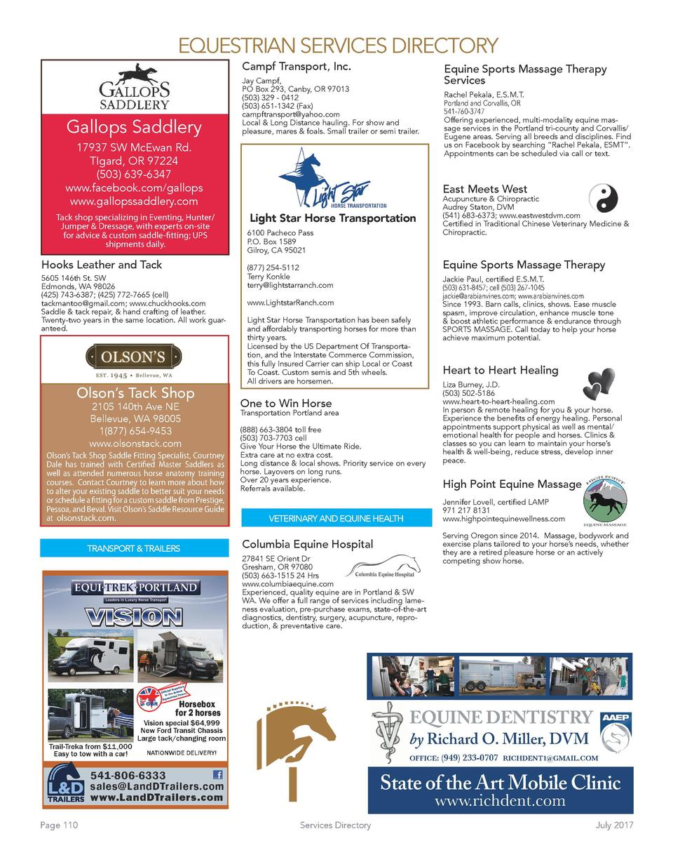 EQUESTRIAN SERVICES DIRECTORY Campf Transport, Inc.  Gallops Saddlery  Equine Sports Massage Therapy Services  Jay Campf, ...