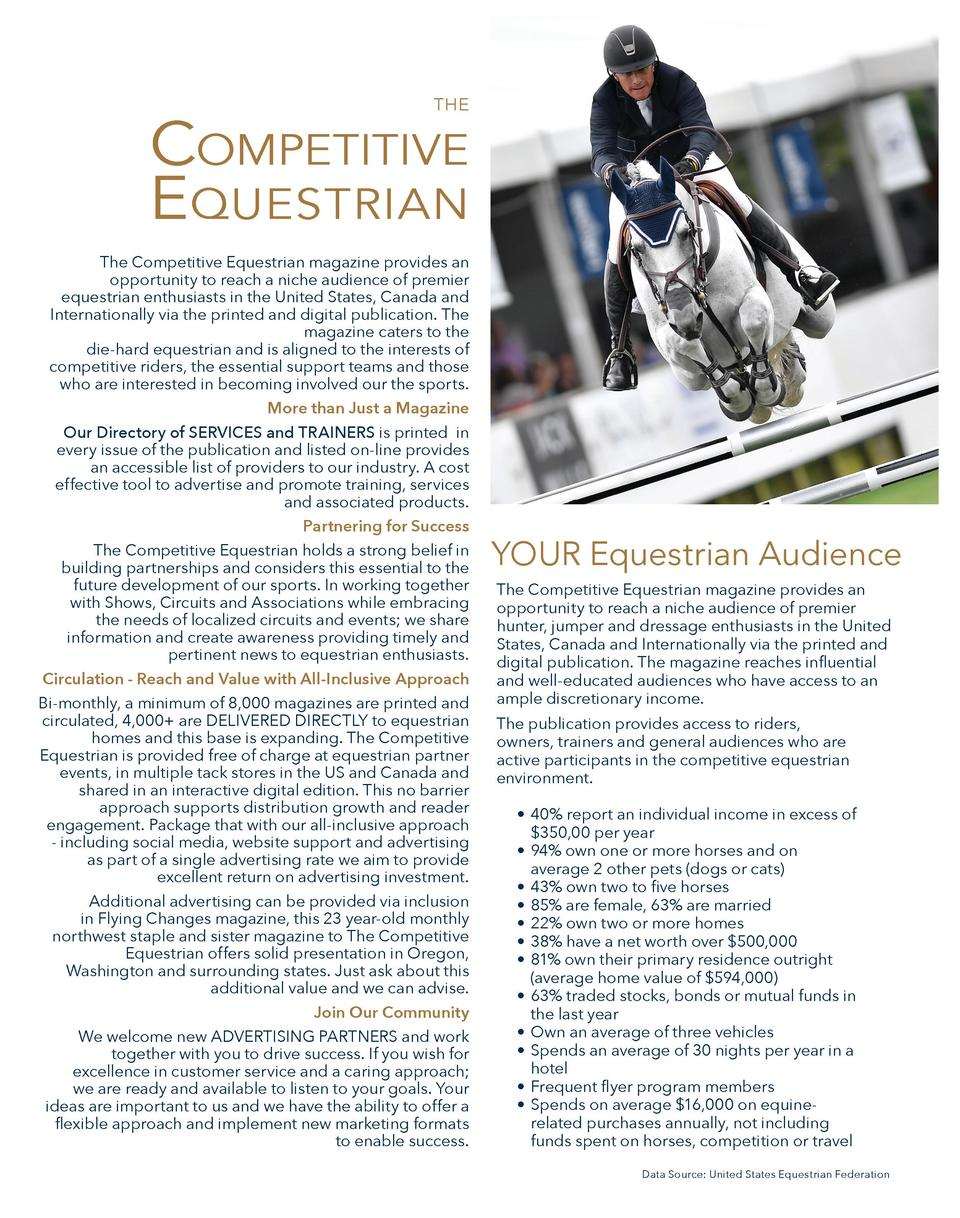 THE  COMPETITIVE EQUESTRIAN The Competitive Equestrian magazine provides an opportunity to reach a niche audience of premi...