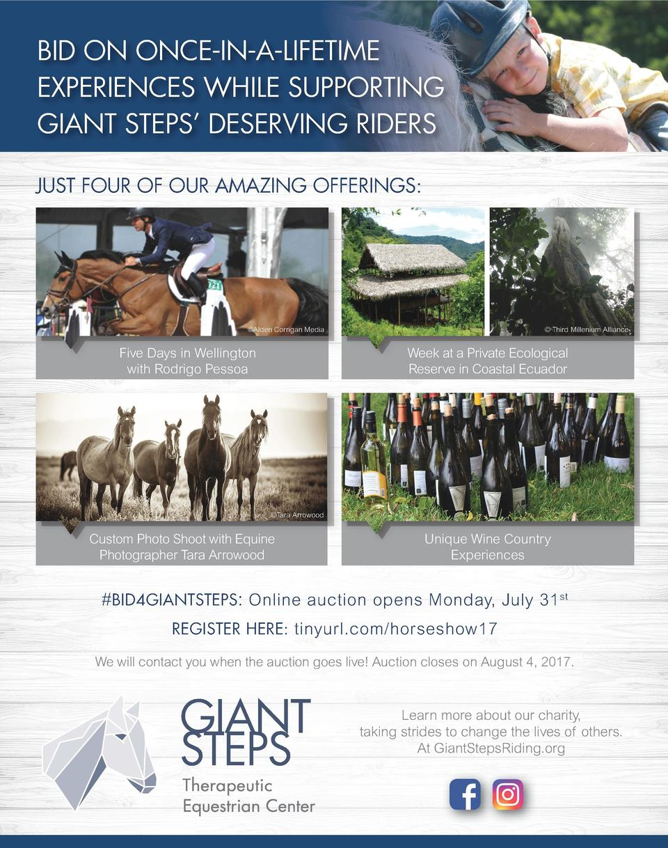 Bid on once-in-a-lifetime experiences while supporting giant steps    deserving riders Just four of our amazing offerings ...