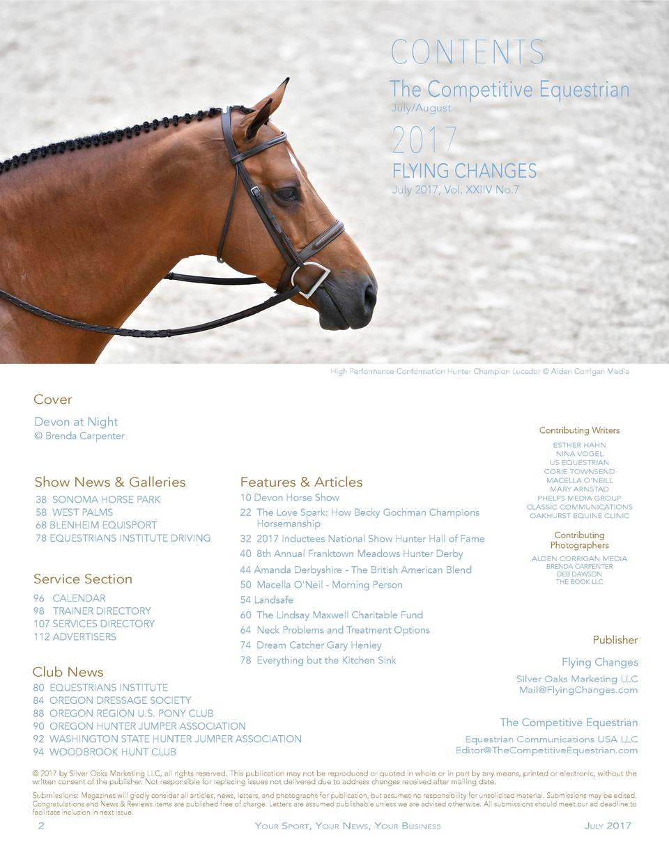 CONTENTS The Competitive Equestrian July August  2017  FLYING CHANGES July 2017, Vol. XXIIV No.7  High Performance Conform...