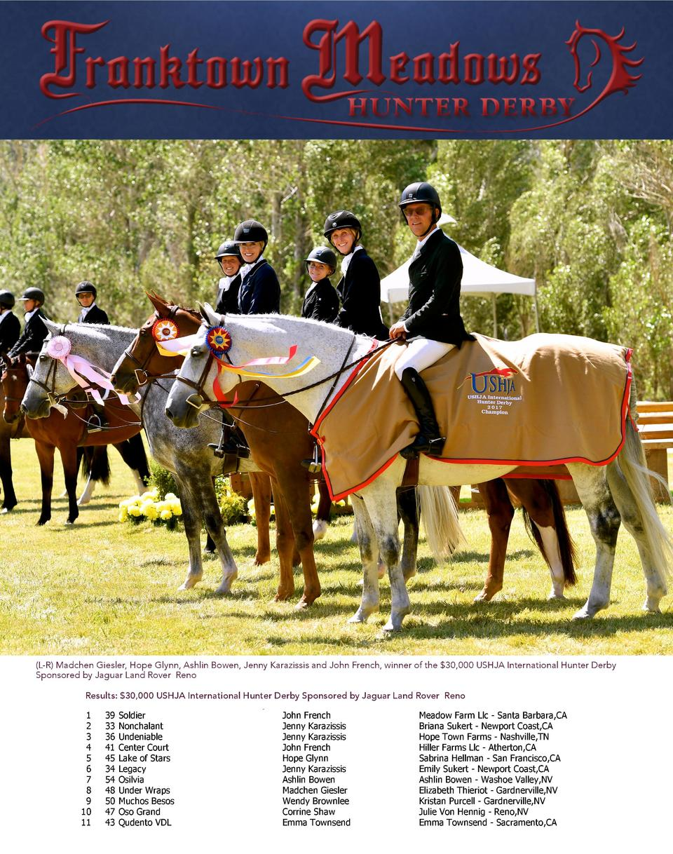It s ShowTime   Class Results Franktown Meadows Hunter Derby - June 24-25, 2017  It s ShowTime    L-R  Madchen Giesler, Ho...