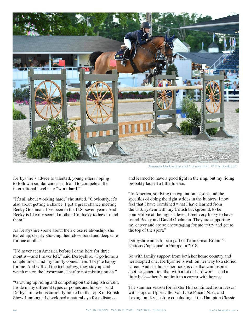 Amanda Derbyshire and Cornwall BH.   The Book LLC  Derbyshire   s advice to talented, young riders hoping to follow a simi...