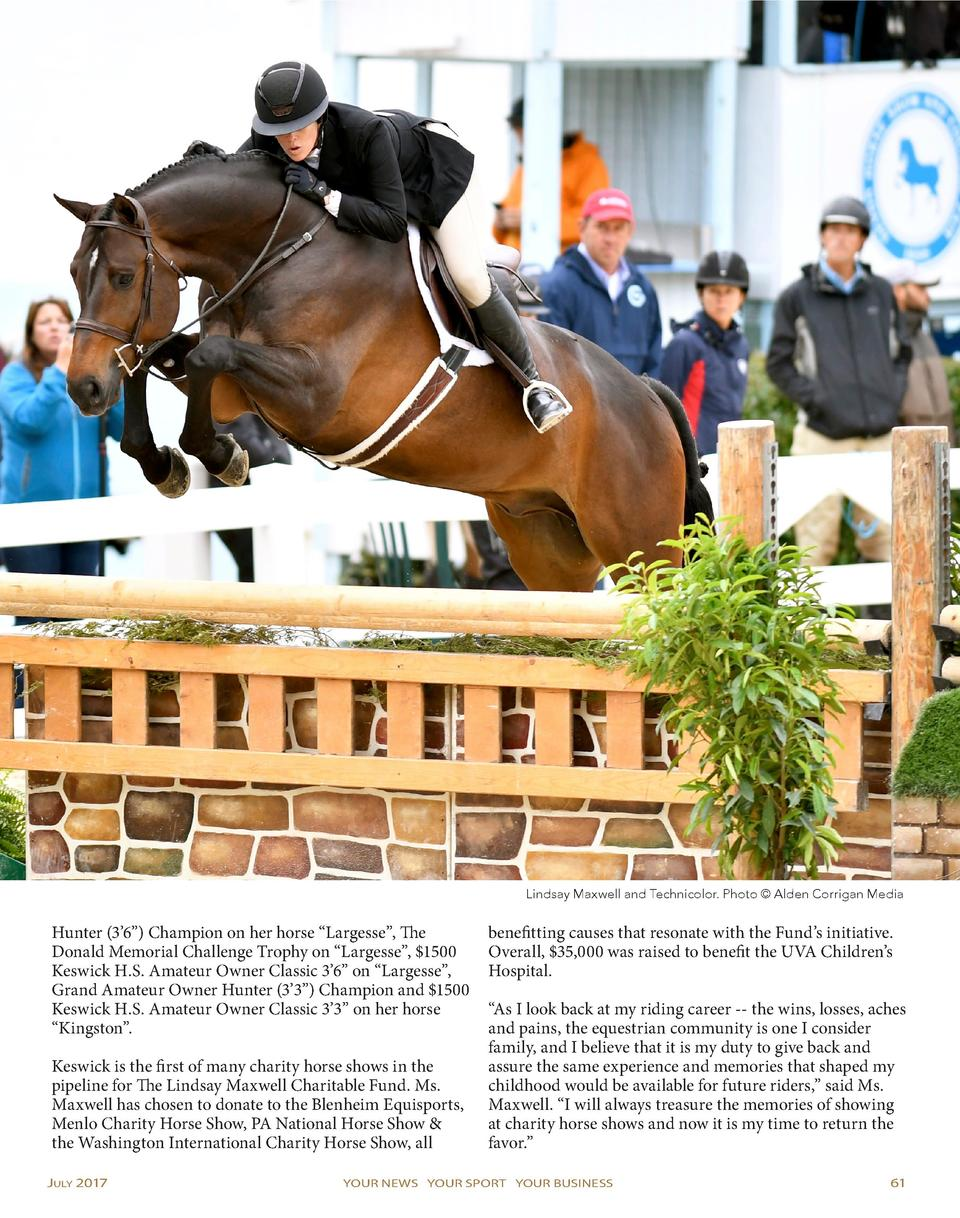 Lindsay Maxwell and Technicolor. Photo    Alden Corrigan Media  Hunter  3   6     Champion on her horse    Largesse   , Th...