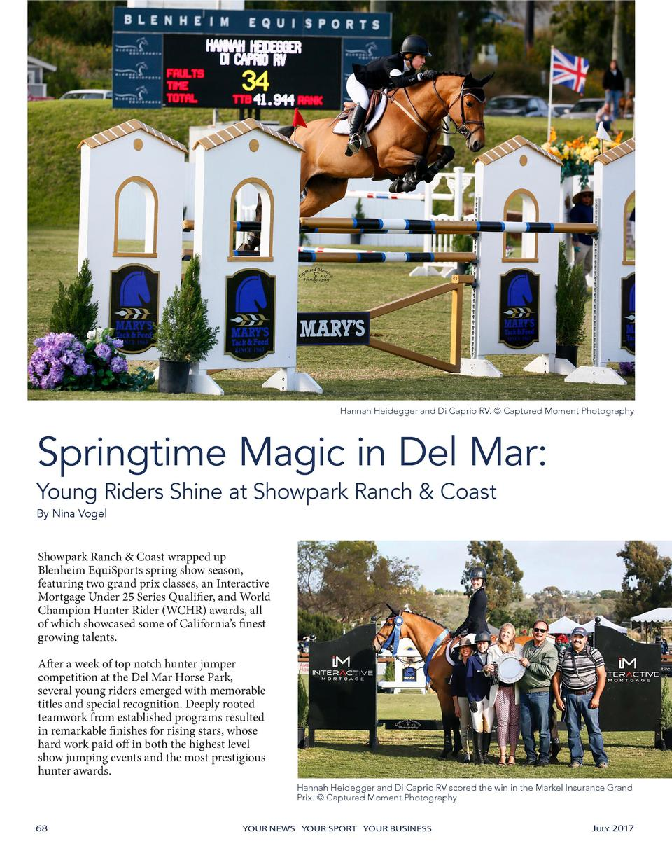 Hannah Heidegger and Di Caprio RV.    Captured Moment Photography  Springtime Magic in Del Mar  Young Riders Shine at Show...