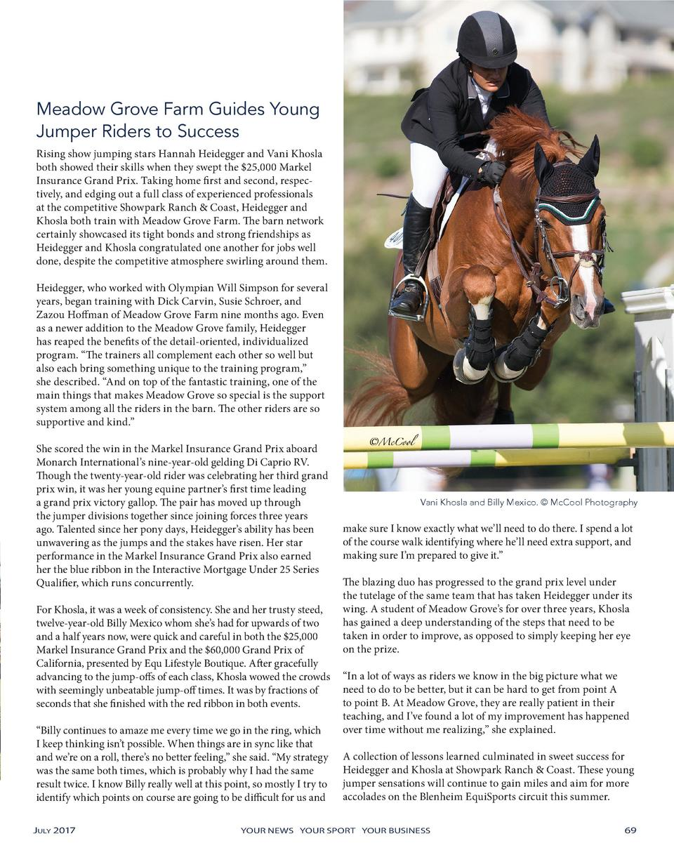 Meadow Grove Farm Guides Young Jumper Riders to Success Rising show jumping stars Hannah Heidegger and Vani Khosla both sh...