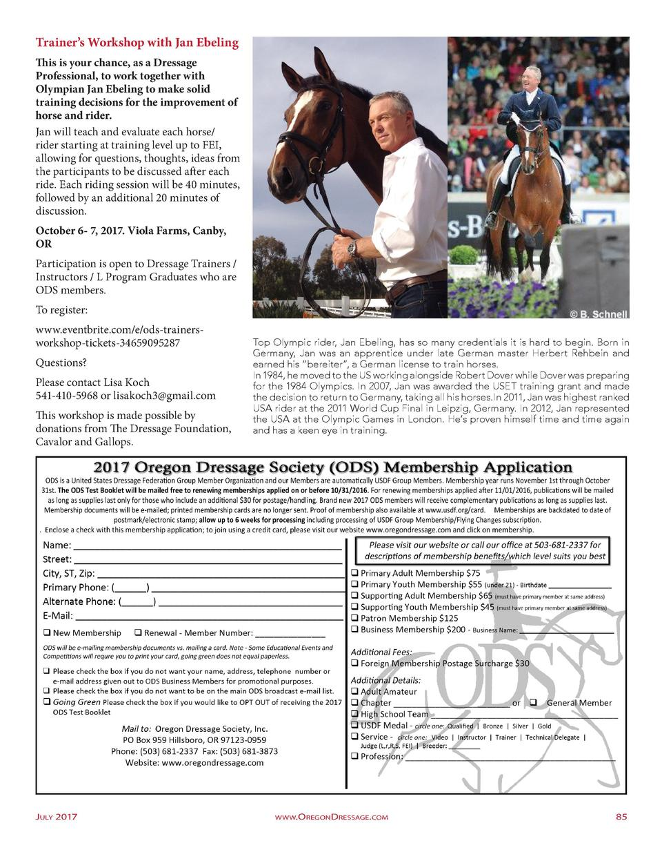 Trainer   s Workshop with Jan Ebeling This is your chance, as a Dressage Professional, to work together with Olympian Jan ...