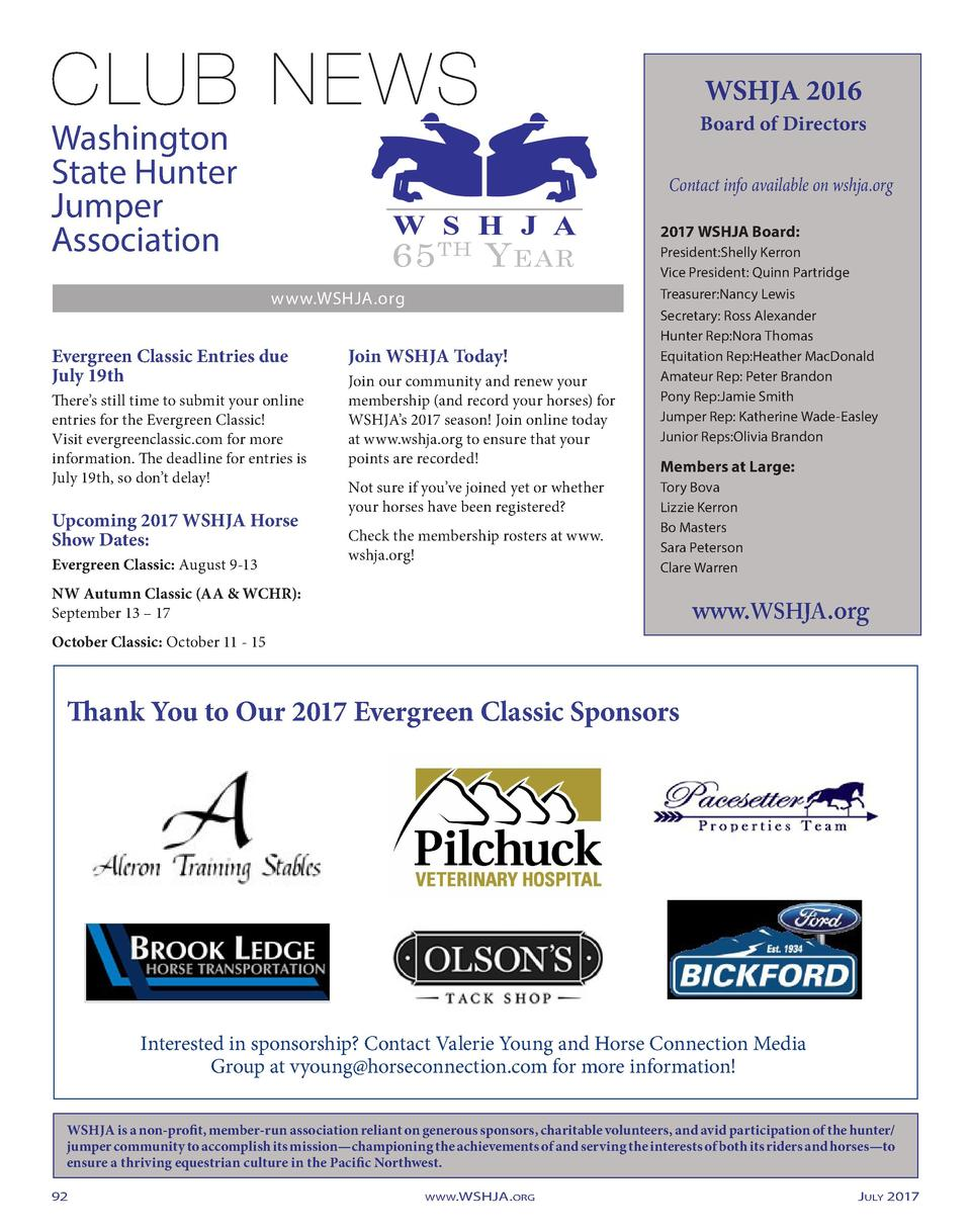 WSHJA 2016  Board of Directors  Washington State Hunter Jumper Association  Contact info available on wshja.org  65  TH  Y...